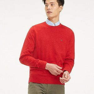 New Tommy Hilfiger Red Crew Neck Sweater